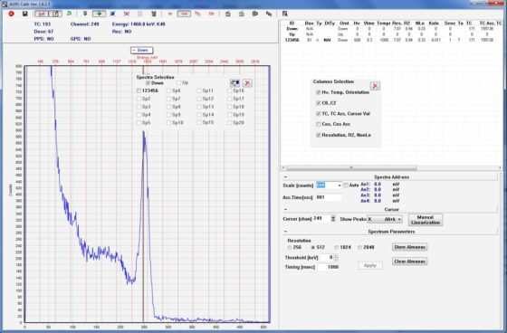 Interface of a calibration and setting software for AGRS based instruments