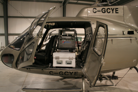 An helicopter with an Airborne Integrated Radiation Information System inside it