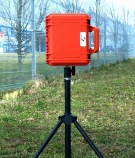 A portable radiation monitoring system with satellite transmission