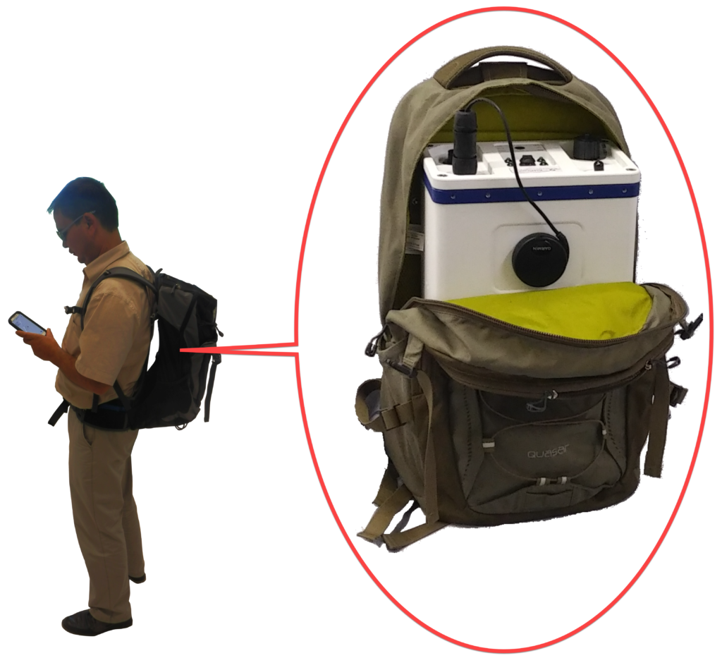 Photo of RADScout in Backpack beside user with mobile phone