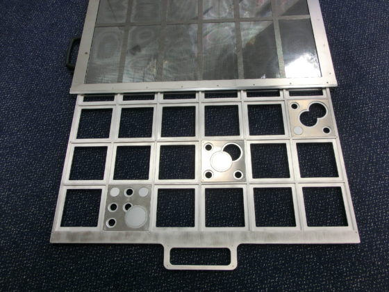 A contamination search drawer used for the training of radiation safety personnel