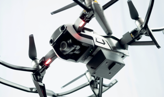 A drone with an embeddable module for aerial radiological investigation